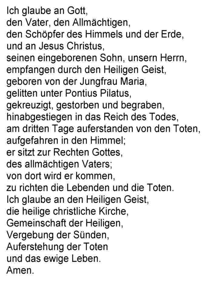 Glaubensbekenntnis Text